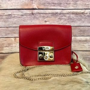 FURLA Red Leather Crossbody Bag